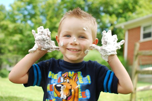 As parents we have enough to clean up, but messy play is an important type of play!